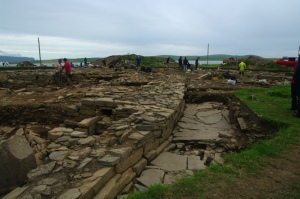 Archaeologists expose the sophisticated stone masonry of the 5000 year old Ness of Brodgar temple complex in Orkney