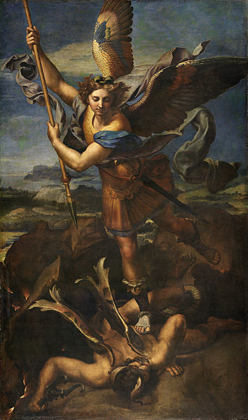 Saint Michael the Satan-slayer, as depicted by Raphael.