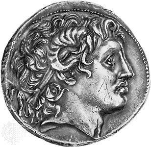 Depiction of Alexander (with horn) on a greek coin of the 3rdC BCE