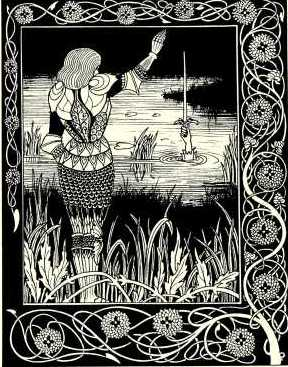 Aubrey Beardsley's depiction of Bedivere consigning the sword Excalibur to the 'Lady of the Lake'