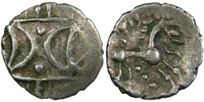 Iceni coins demonstrating the opposed crescent design, redolent of Pictish symbol stones