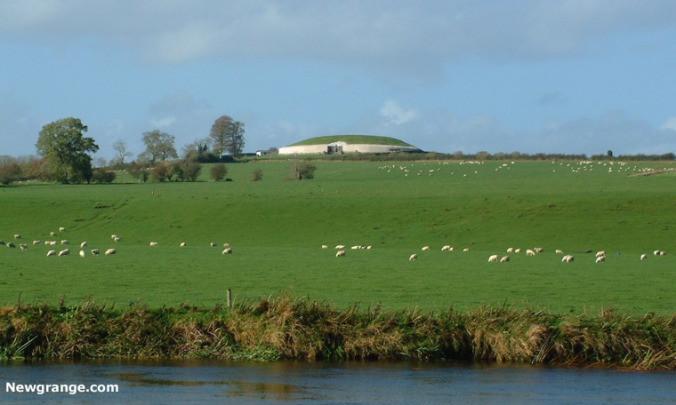 Newgrange on the Boyne. Horde of poisonous sheep shown for scale!