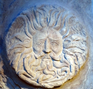 The stone fascia of the Roman-British shrine of 'Minerva Aquae Sulis' at Bath displayed this magnificent head of 'Manannan'. Note the 'solar' rays of the hair and the 'watery' appearance of the beard...