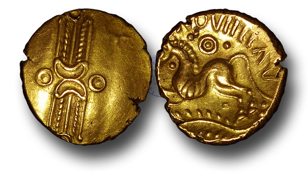 Coin of Addedomaros of the Trinovantes (1stC BCE) - note the reflected, stylised head of corn