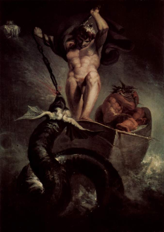 Thor wrestling the Midgard Serpent (painting by Füssli, 1788).