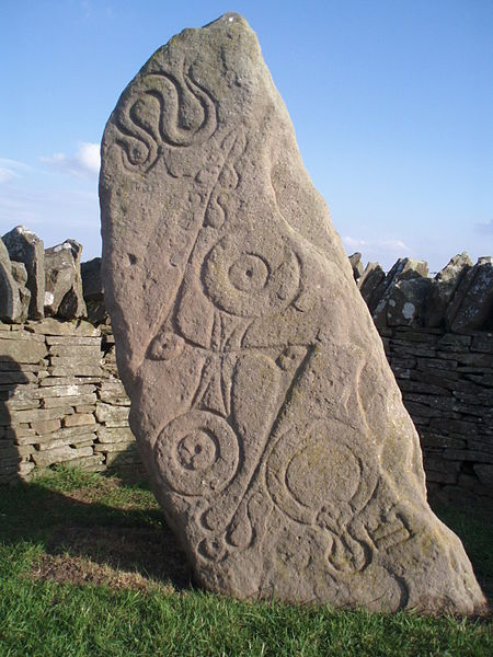 'Aberlemno 1' pictish stone (Angus, Scotland). The 'double disc' motif appears with the 'z-rod' and the mirror: symbols of rotational and reflectional symmetry. The serpent at the top demonstrates that this symbolism is expressive of the Atlantic otherworld beliefs...