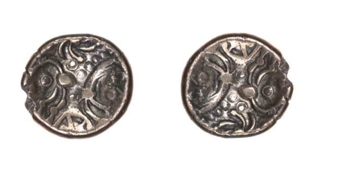 Note the rotational symmetry seen in the horse-design of this coin! Wiltshire ?Dobunni 1stC BCE.