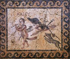 Roman era mosaic of a happy Lare protected from sharp and venomous things by the apotropaic Eye symbol