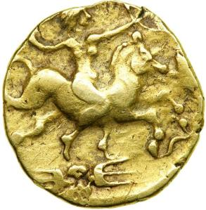 A coin of the Gaulish Redones (Brittany) shows the martial female mounted upon a horse: The Morrigan and Dagda?