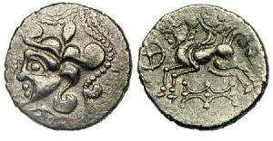 The Osisimi of Gaul (atC BCE) also produced many indigenous 'centaur' coins. Like those of the Venetii, they also depict many human heads attached to ?cords in the designs.
