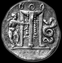 Greek tetradrachm depicting Apollo the archer with the Python and the Delphic tripod