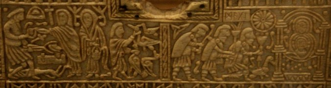 Panel from the 8thC Anglo-Saxon 'Franks' Casket' depicting the juxtaposition of pagan mythology and Christian. On the left - the injured smith-king Weyland receives a visit from three (Valkyrie) women. On the right, Mary and the baby Jesus receive the three male Magi. Note the items carries by the Magi and consider the court of the Fisher King...