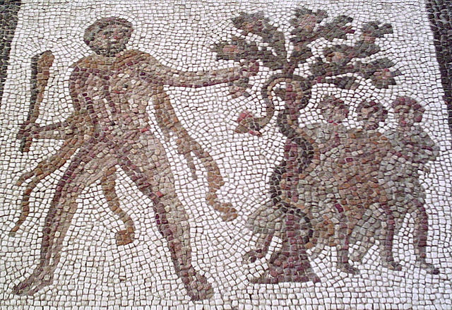 Armed Hercules confronts the Serpent Ladon in the garden of the Hesperides (Roman Hispania)