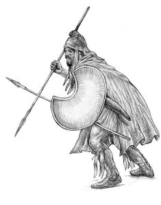 Depiction of Thracian warrior with crescentic 'Pelta' shield.