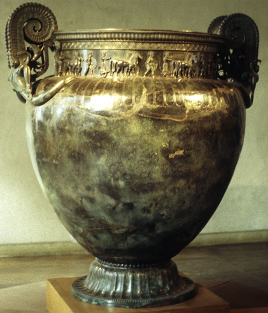 The 'Vix Krater' - an equisite Greek bronze krater buried in the grave of a Gaulish noblewoman c.500BCE. Elaborate kraters were a central symbol of Dionysiac and Sabazian cult worship.