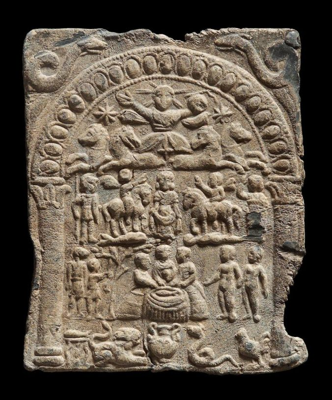 An exquisite example of a plaque depicting the 'Danubian Horsemen' and their central goddess... seemingly a version of Epona.