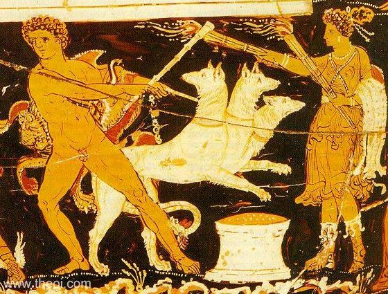 A vase image of Herakles completing his 12th task - leashing Cerberus while Hekate watches. Image (c) Theoi.com