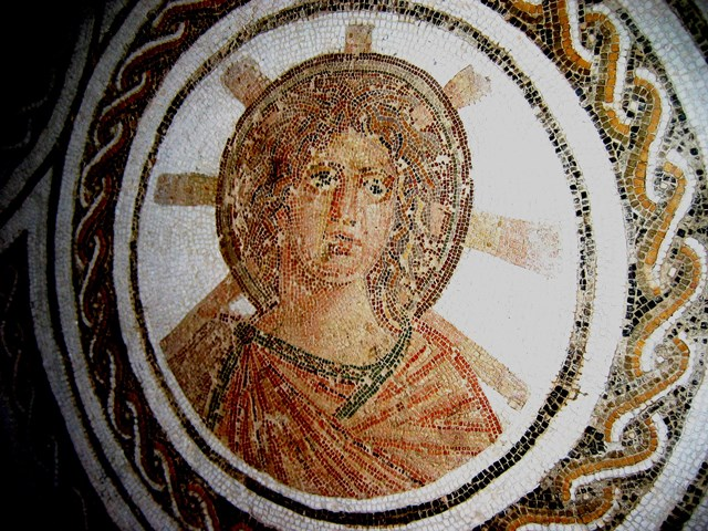 Roman era iconographic depiction of Apollo in mosaic, Tunisia. The similarity to later depictions of Jesus in both the Eastern and Western traditions is striking.