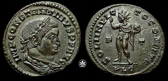 A coin of Emperor Constantine I who converted to Christianity and took the Empire with him. The depiction on the obverse is of Sol Invictus.
