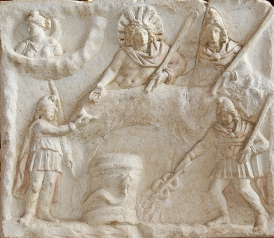 A Roman relief depicting the banquet of Sol, Luna and Mithras.