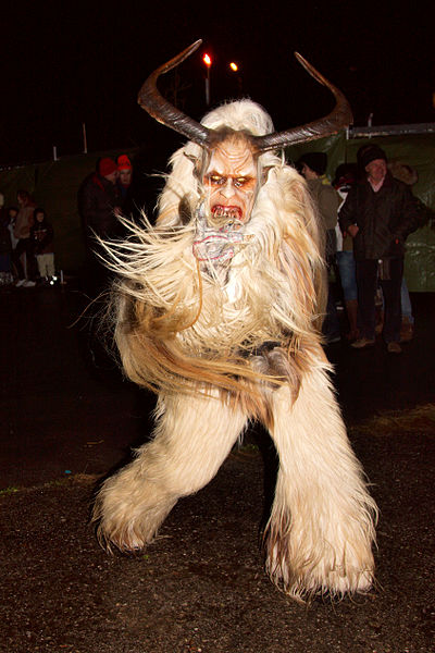 A 'Krampus' character - devilish indeed! Half man, half beast - like the Greek satyrs