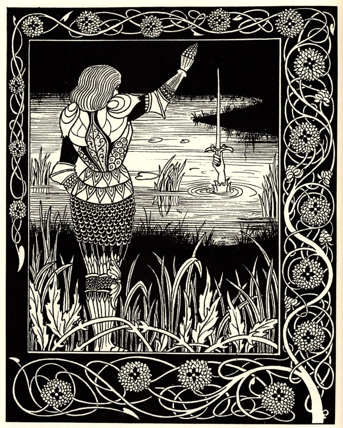 Aubrey Beardsley's beautiful depiction of Bedevere casting Excalibur into the hands of 'Dame Du Lac'. The Arthurian legends were a late survival of an important pagan mythic tradition among the Celts. Many of their legends extend into the heady days of the Belgic warbands, of whom the Thracian Scordisci were direct ancestors.