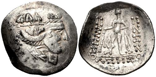 Celtic recreation of a Thasos-type Greek tetradrachm depicting Dionysus and Herakles c.1stC BCE