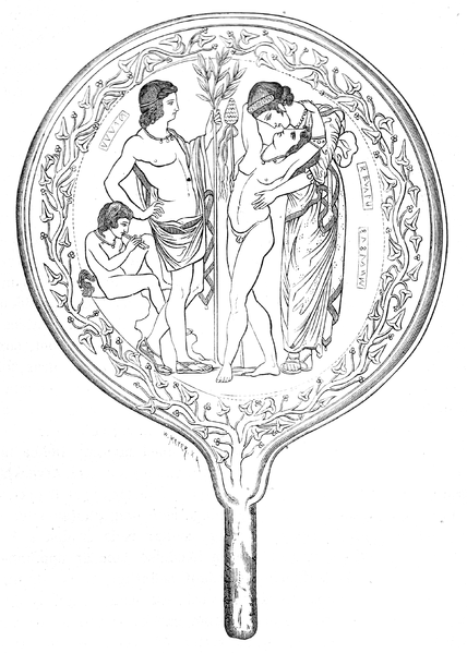Dionysus, Semele and Apollo depicted on an Etruscan funerary mirror.