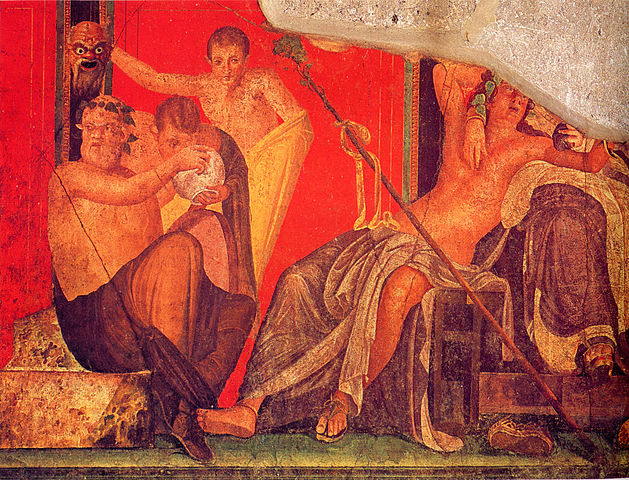 Fresco from the 'Villa of Mysteries' at Pompeii, depicting Dionysian initiatory scenes. Here the youth appears to peer into a basin of liquid to see the reflection of the mask behind him. The image resonates strongly with the imagery later conjured by Nonnus in 'Dionysiaca'.